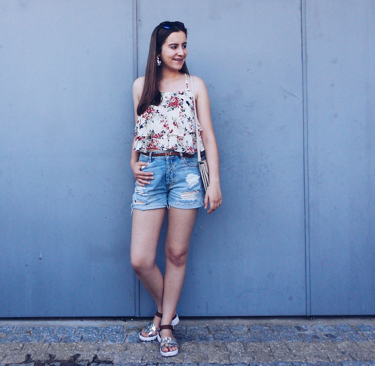 Outfit | Floral Top and Denim Shorts