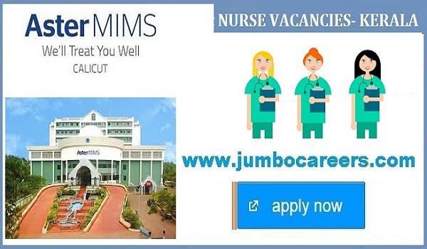 ASTER MIMS Hospital Kozhikode Nurse jobs