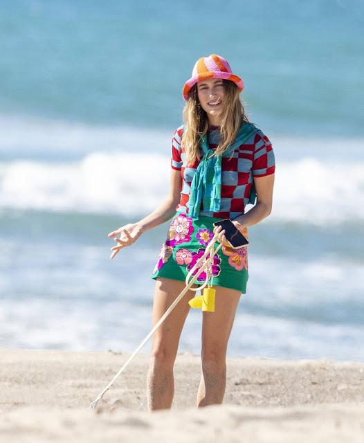 Hailey Bieber – Photoshoot candids in Malibu