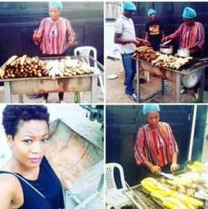 Photos Of BBNaija 2020 Housemate, Lucy Selling Roasted Plantain And Fish #Arewapublisize