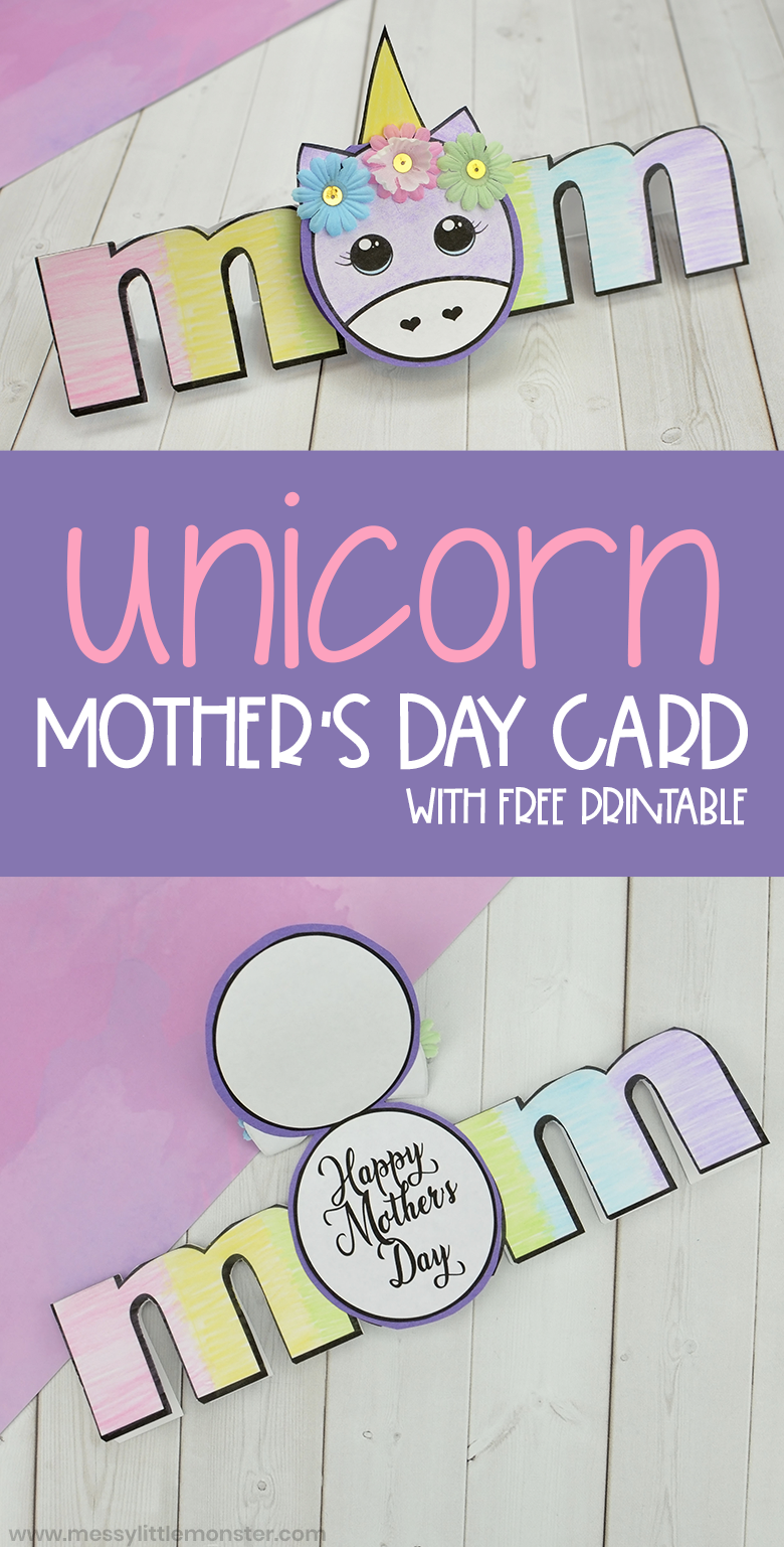 Get your free printable Mother's Day Card Craft. This unicorn craft makes the perfect handmade Mother's Day card.