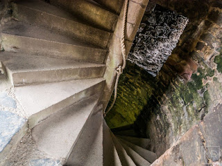 Steep, narrow, spiral staircase of misery