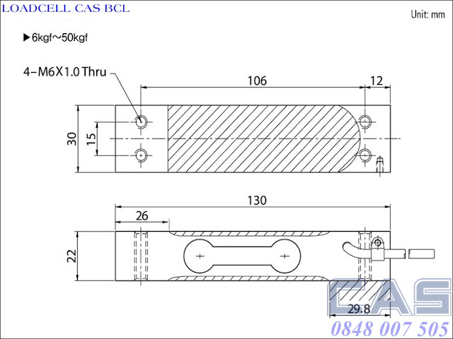 Loadcell-Cas-BCL-6-50kg
