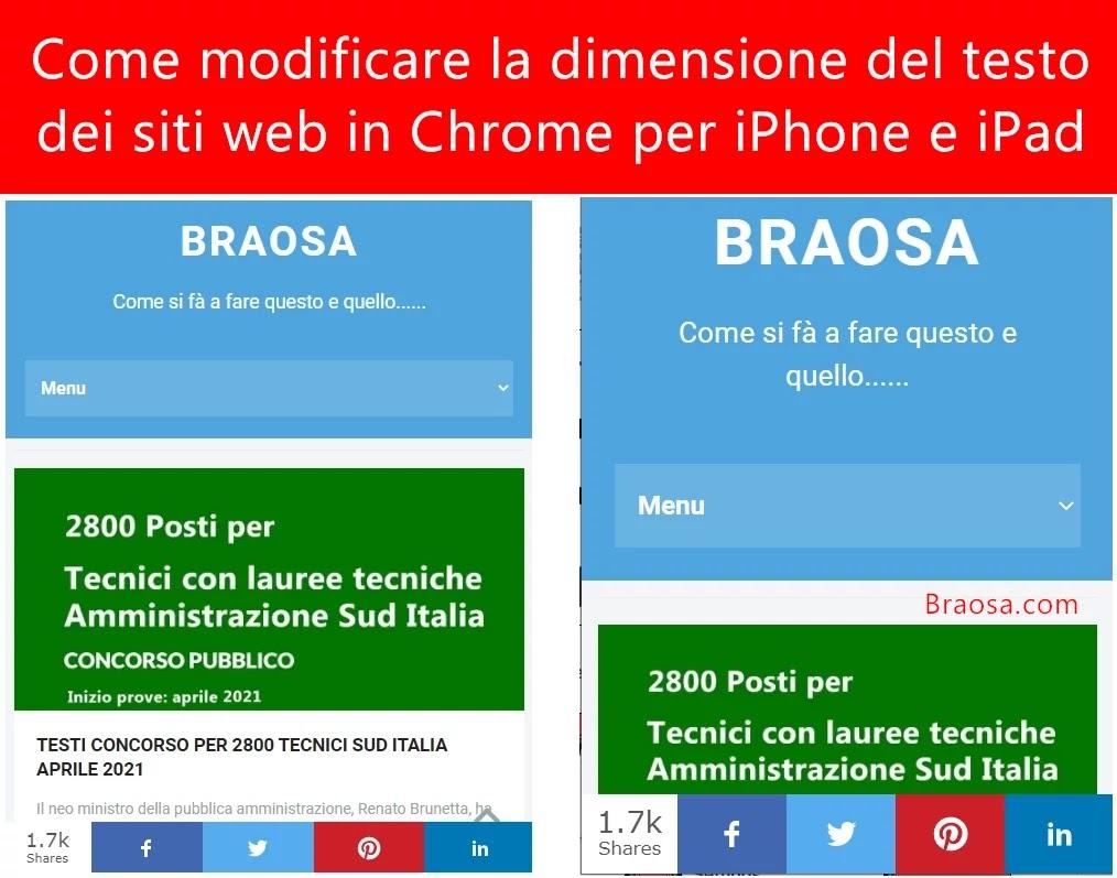 Come modificare la dimensione del testo nei siti Web in Chrome per iPhone e iPad