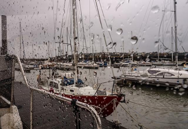 Photo of wet and windy Tuesday at Maryport Marina