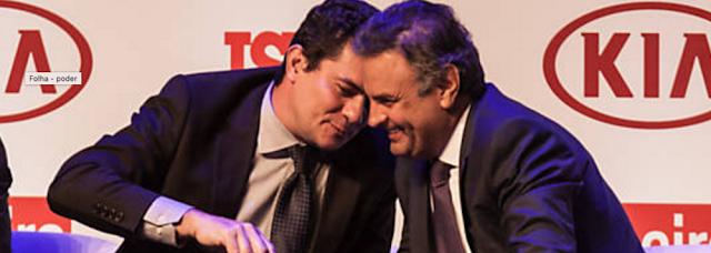 Aecio Neves e Juiz Sergio Moro em evento da istoé