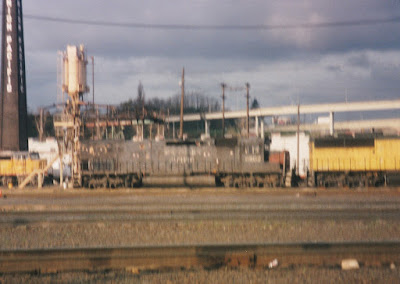 Southern Pacific SD45T-2R #6802 at Albina Yard in Portland, Oregon, in March, 1997