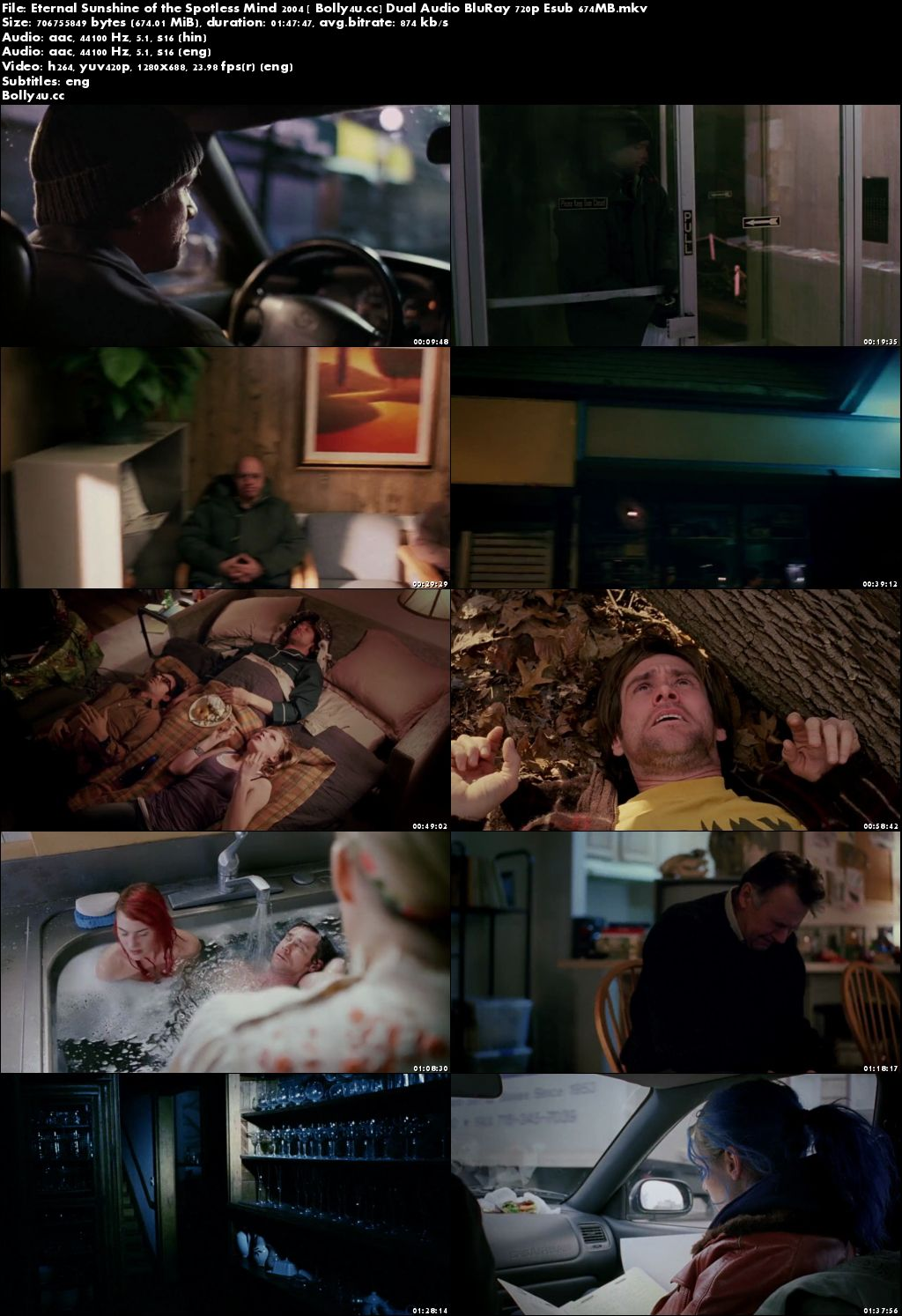 Eternal Sunshine of the Spotless Mind 2004 BRRip 650MB Hindi Dual Audio 720p Download
