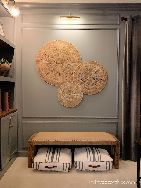 Dark gray walls with wood accents