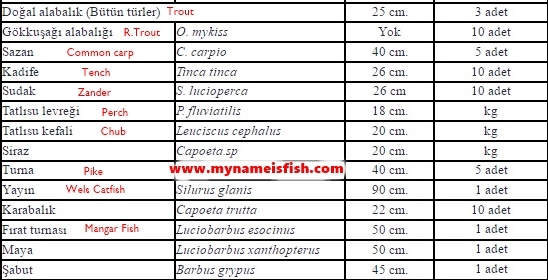 Freshwater Fishing Size and Limits in Turkey