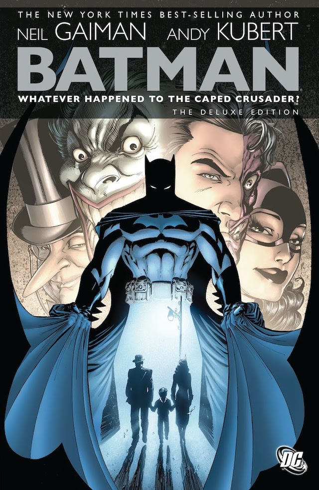 Batman opening his cape to frame, below his torso where his legs would be, silhouettes of young Bruce Wayne and his parents under a streetlight, faces of maniaclly grinning Joker, Penguin, Two-Face, and Catwoman behind him
