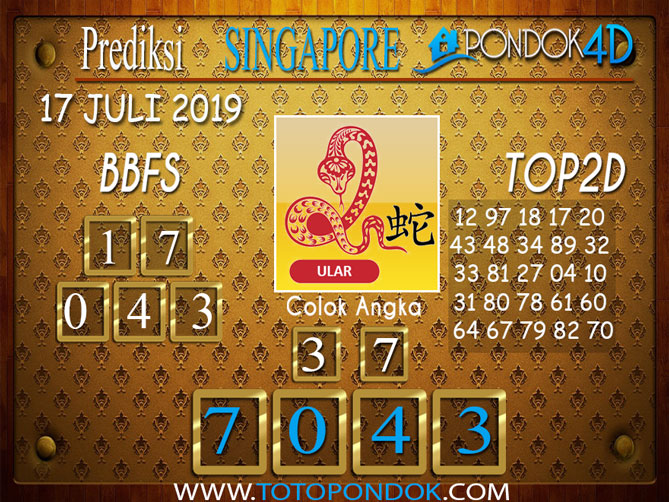 Prediksi Togel SINGAPORE PONDOK4D 17 JULI 2019