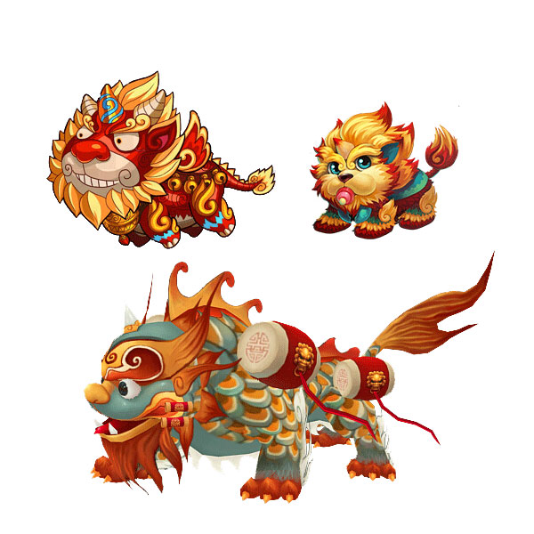 Chinese New Year Mascot - Lovely cartoon lion, Year of the dog, Chinese mascot PNG File Free PSD Download