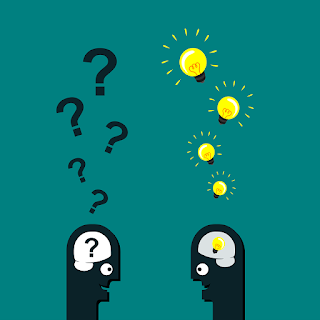 Cartoon of two figures facing one another, smiling. One has question marks above his head. The other has lightbulbs. The image represents collaboration, asking questions, and generating ideas.