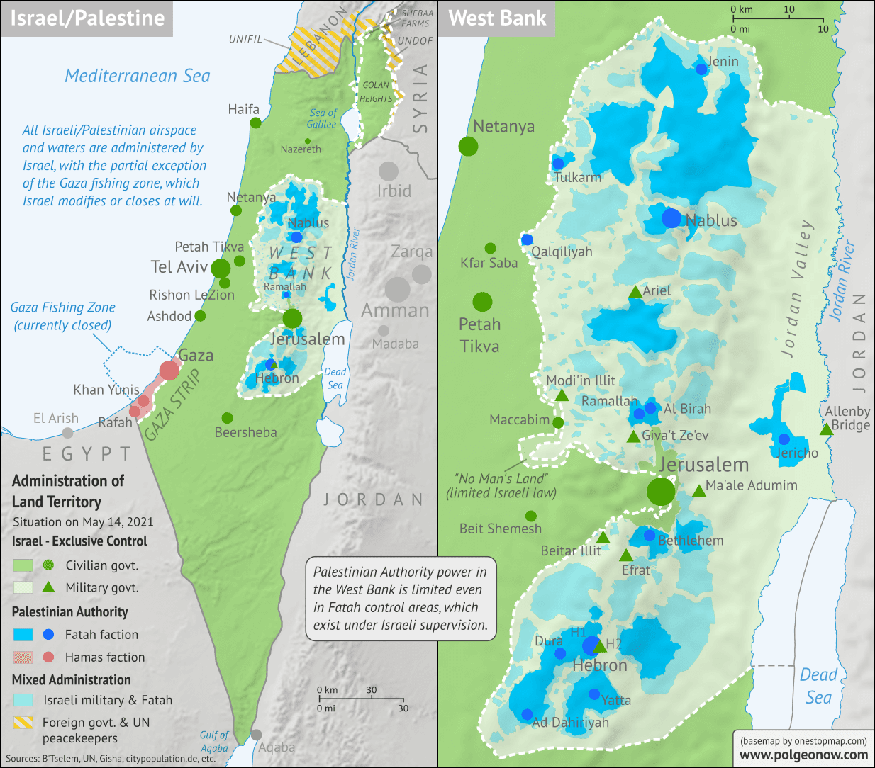 Map of who controls Palestine and Israel's claimed territories today (May 14, 2021), as Gaza Strip violence continues to escalate? Israeli and Palestinian Authority administration (Fatah and Hamas factions indicated separately). Also file under: Palestine controlled area map. Includes bigger West Bank map (Areas A, B, C). Map also includes Gaza Strip, Golan Heights, major cities and Israeli settlements, UN peacekeeper deployments (UNIFIL and UNDOF), no man's land, Golan Heights buffer zone (area of separation, AOS), and Shebaa Farms. Colorblind accessible.