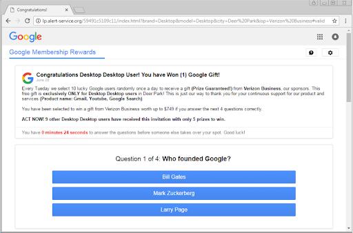 "Eliminar ""Your IP has Won (1) Google Gift"" (Mensajes falsos Scam)"