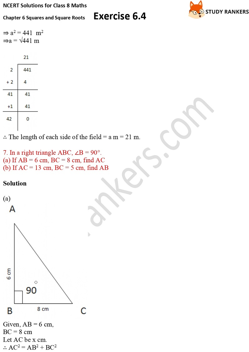 NCERT Solutions for Class 8 Maths Ch 6 Squares and Square Roots Exercise 6.4 18