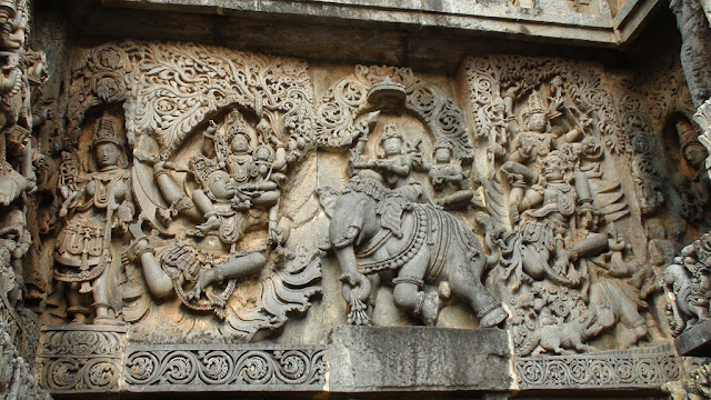 War between Krishna and Indra depicted in Hoysaleswara Temple Karnataka