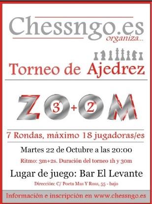 22-23-24 octubre, 3 torneos Chessngo.es en bar Levante