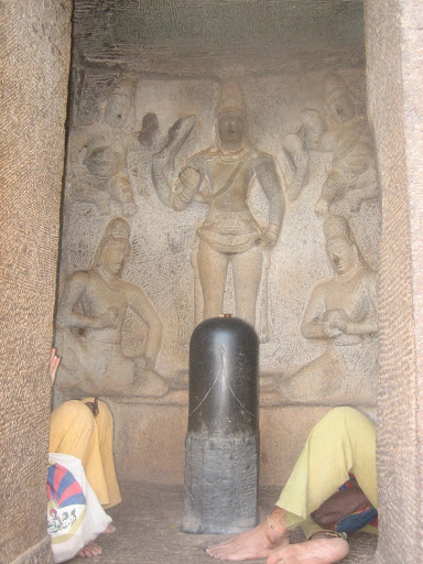 The sanctum of Shiva in Trimurthi cave - Mahabalipuram India