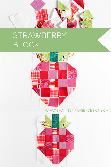 Strawberry Quilt Block | Shannon Fraser Designs | Modern Quilting | Quilting Bee Block