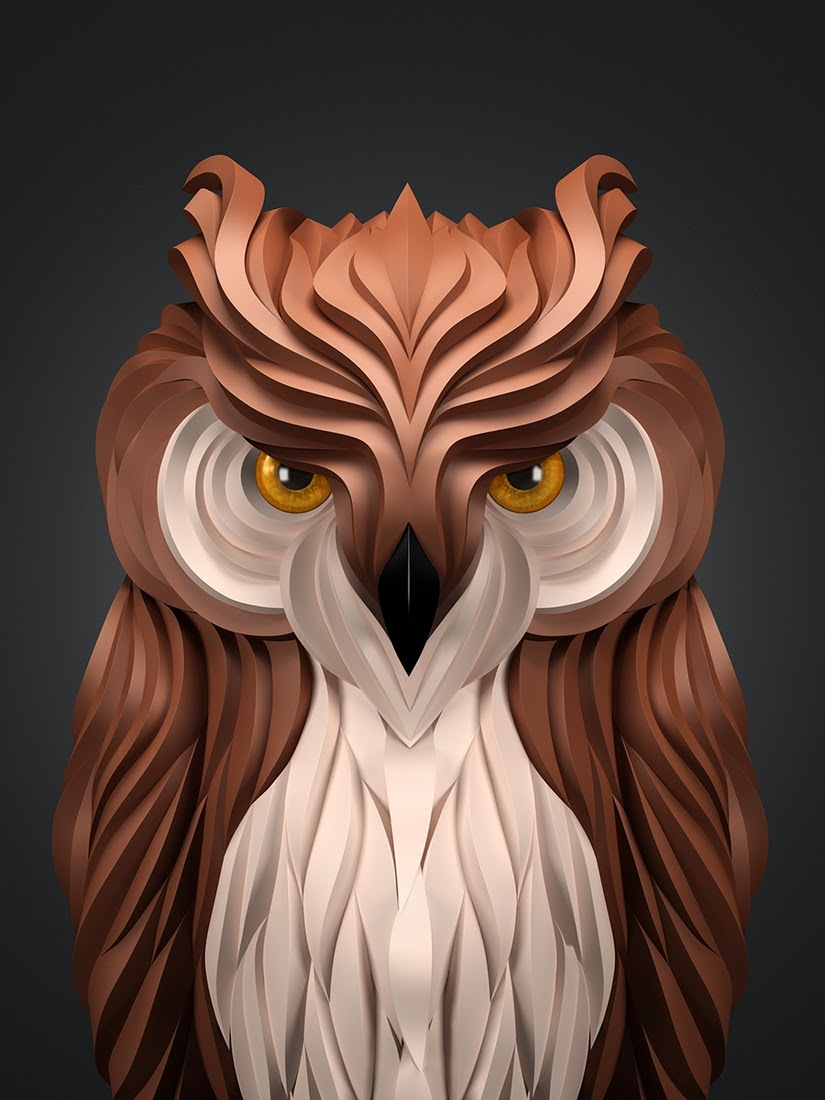 08-Owl-Maxim-Shkret-Digital-Origami-Animal-Art-www-designstack-co