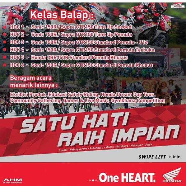 Pendaftaran Honda Dream Cup Sumatera Utara 2018 dibuka, ada 6 kelas balap sob !