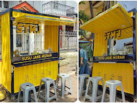 Jasa pembuatan booth container - Booth minuman jahe merah - Gerobak minuman unik