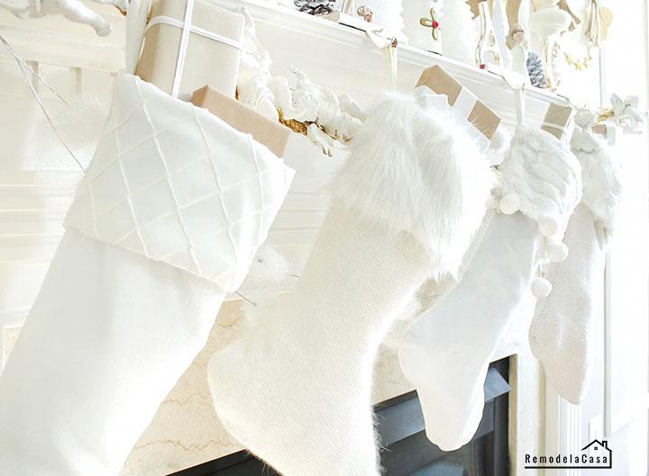 White stockings on Christmas mantel