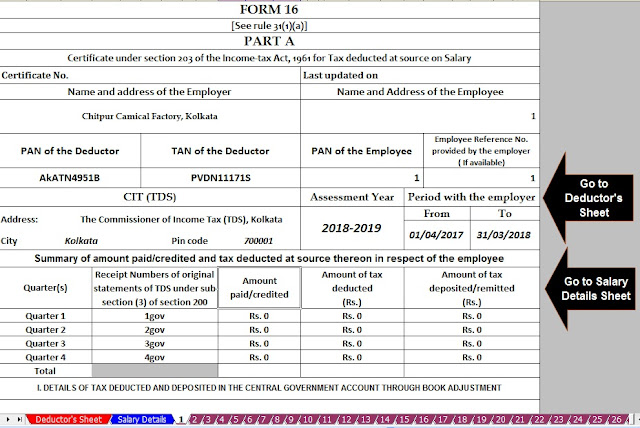 Download Automated Revised Excel Based Income Tax Salary Certificate Form 16 Part B for the F.Y. 2019-20 4
