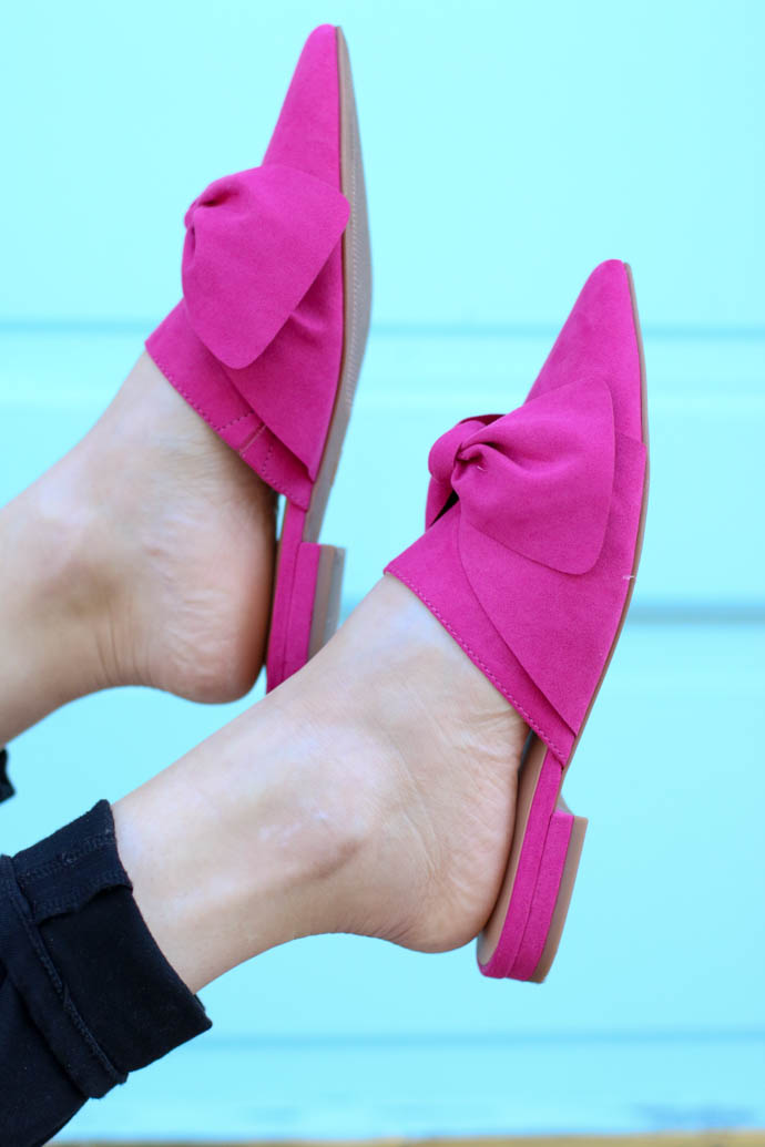 hot pink bow mules