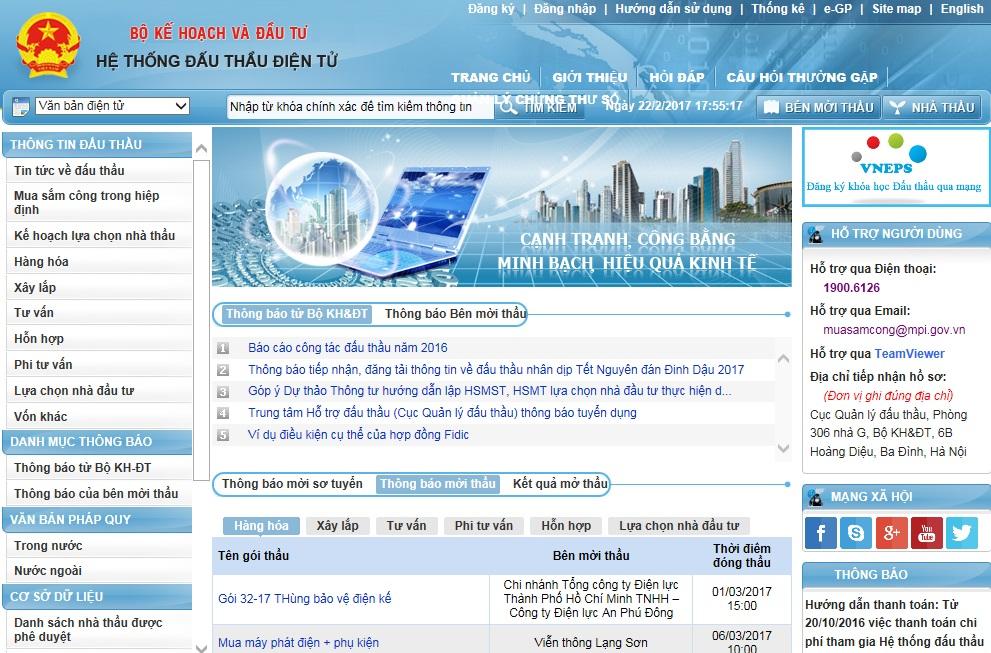 Trang web thông tin nhà thầu trên mạng đấu thầu quốc gia