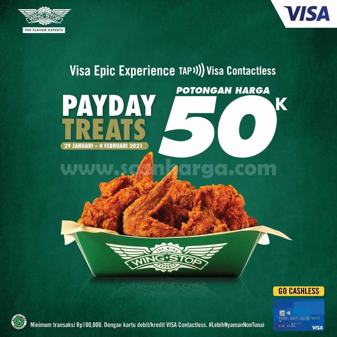 WINGSTOP PAYDAY Treat Promo Potongan Harga 50K! Dengan Kartu VISA Contactless