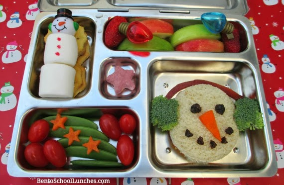 Snoiwman with Earmuffs Christmas bento school lunch