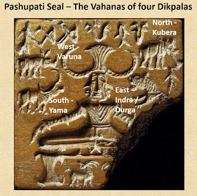 The four animals on the Pashupati seal may represent the vahanas of the four dikpalas of the cardinal directions.