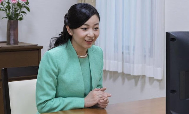 Japan Women Inventors Association. Princess Kako wore a green tweed jacket and skirt, pearls necklace