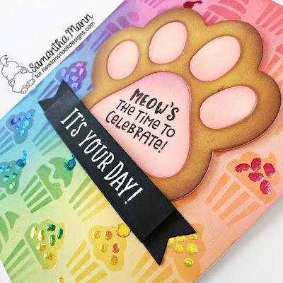 Pawsome Birthday Card by Samantha Mann for Newton's Nook Designs 8 year Celebration, Birthday, Card, Card Making, Birthday, Pawprints, Decofoil, Foil,  Cupcake, #newtonsnook #newtonsnookdesigns #birthdaycard #cardmaking #papercrafting