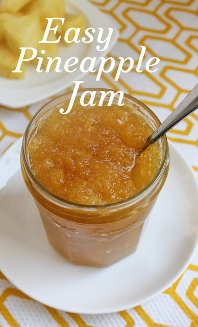 Food Lust People Love: Spread a little bright yellow sunshine on your morning toast with my easy pineapple jam. With just two main ingredients, it couldn't be simpler. It also makes a great filling for muffins, cakes and buns. Quick jam made from fresh pineapples requires only heat and sugar and just a little bit of time. No water bath is necessary; just store it in a clean jar in the refrigerator. I can guarantee it won't last long!