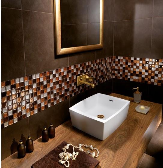 Ba os decorados en color marr n chocolate colores en casa - Fotos de azulejos para banos ...