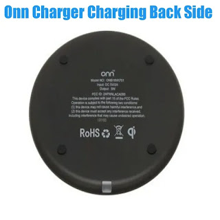 Back Side of Onn Wireless Charger Charging Pad