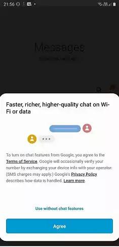 جوجل ميزات الدردشة الحوار في رسائل سامسونج