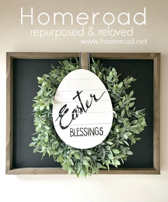 DIY chalkboard sign with wreath and egg sign
