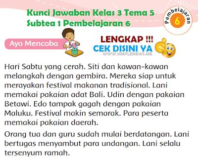 Kunci Jawaban Tematik Kelas 3 Tema 5 Subtea 1 Pembelajaran 6 www.simplenews.me