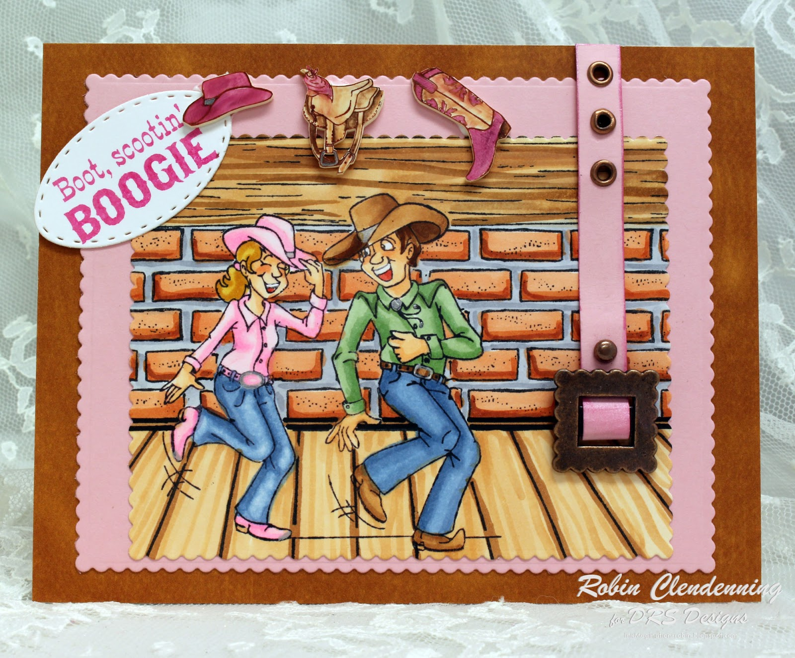 Western Dancing Couple Rubber Stamp by DRS Designs Rubber Stamps