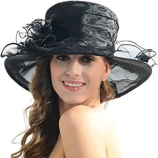 Women Kentucky Derby Church Dress Organza Hat Wide Brim Flat Hat