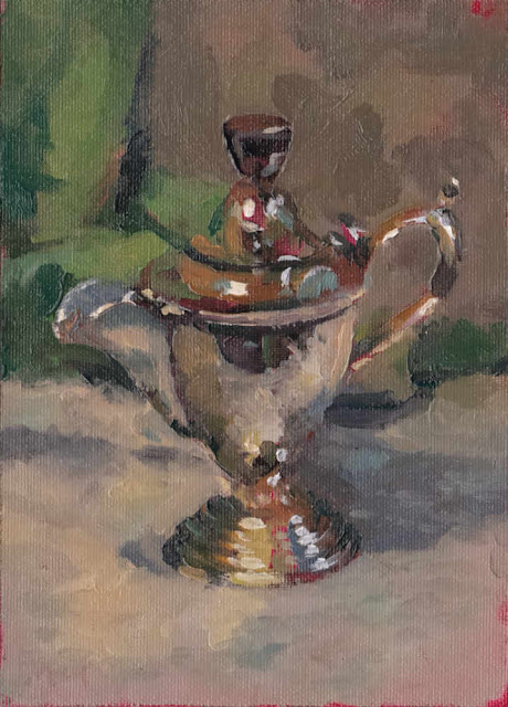 180225 Silver Jug II. Oils on canvas panel still life by Kevin McSherry