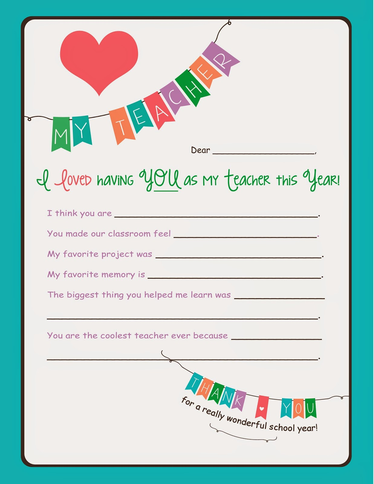 Savvy Spending Free End Of The Year Teacher Printable For