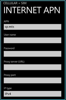 New MTS APN settings windows for phone