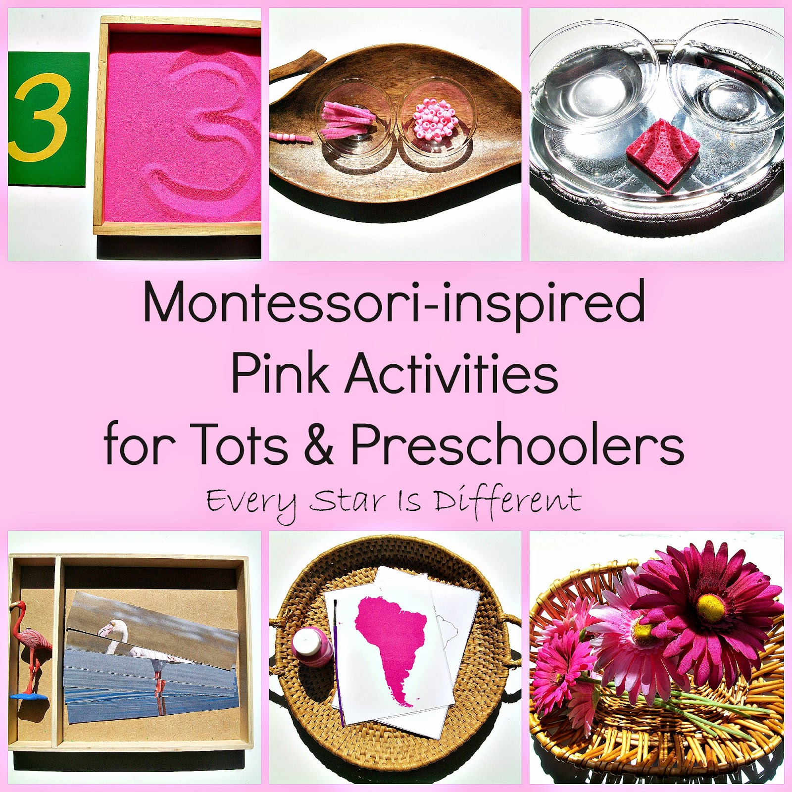 Montessori-inspired Pink Activities for Tots an Preschoolers with Free Printables
