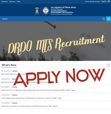 Defence Research development organisation (DRDO) New Vacancy for MTS Released Check Eligibility, Syllabus, Apply